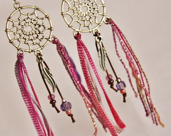 "Dangle earrings ""Dreamcatcher Cheyenne"" fuchsia & purple"