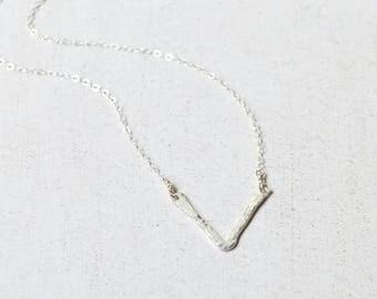 V Necklace Sterling, Chevron Necklace, V Pendant, Minimalist Necklace