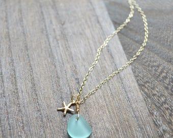 Tiny sea glass necklace, Sea glass pendant necklace, Starfish charm necklace, Sea glass necklace gold