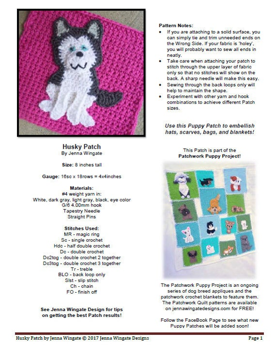 husky patch patchwork puppy project applique dog diy decoration personalize make and sew on