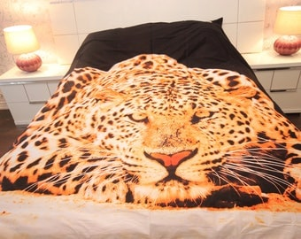 100% Cotton 6pcs set HYENA, duvet cover bed set, Queen Size (Set includes: duvet cover, flat sheet, 4 pillow cases)