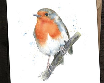 Robin Card, Robin Birthday Card, Robin, British Birds