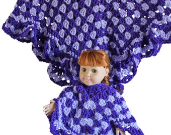 "Purple ponchos, AG doll poncho, girls poncho, 18"" doll poncho, AG doll clothes, 18"" doll clothes, AG poncho, child's poncho, 18"" poncho"
