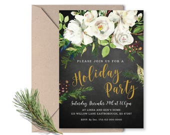Christmas Party Invitation Printable, Holiday Party Invite, Office Party, Watercolour flowers black and gold, woodland holiday invite