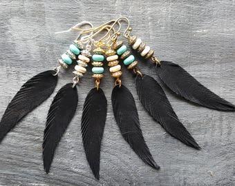 Black feather earrings. Leather feather earrings. Gemstone beaded earrings. Long drop earrings. Boho earrings. Bohemian earrings. Boho chic.