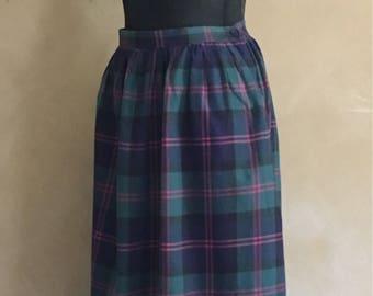 Vintage Plaid Cotton Skirt 80's