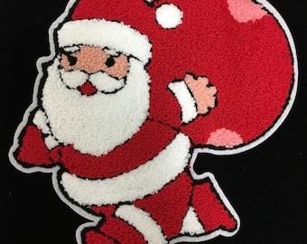 "hotfix rhinestones heat transfer Iron on  ""Santa Claus Patch """