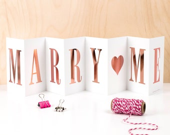 Marry Me Concertina Card; Rose Gold Foil Marry Me Concertina Card; Keepsake Marry Me Card; Marry Me Sign; Marriage Proposal Card; CC098