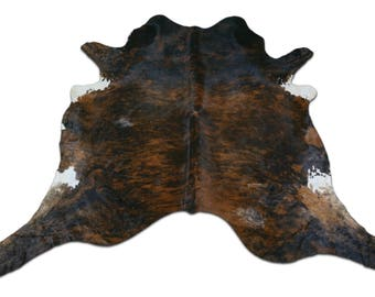 Exotic Cowhide Rug Size: 8 X 8.5 ft HUGE Dark Brindle Brindle Cow Hide Skin Rug j-262
