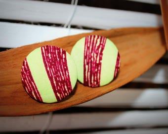 Earrings flea(chip) in African Wax fabric