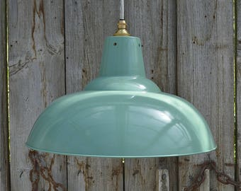 Large French grey/green hanging light pendant shade ceiling lamp factory style industrial BL17G3