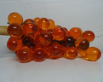 Mid Century Amber Lucite Grape Cluster On Wood - FREE SHIPPING