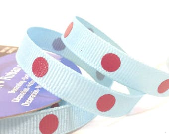 9mm Light Blue Grosgrain Ribbon with Red Dots