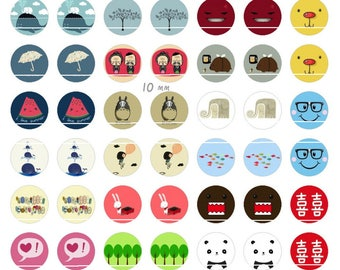 242 # patterns Vintage 70 Images/designs digital 10mm round cabochon