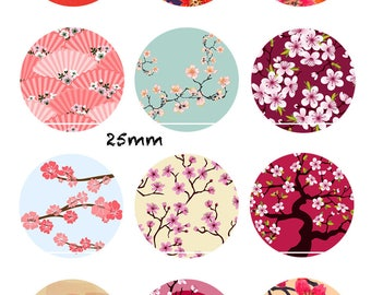 Spring Japanese 12 Images/designs/collage/Scrapbooking digital 30/25/20/18/16/15/14/12/10/8 mm cabochon round/square/oval
