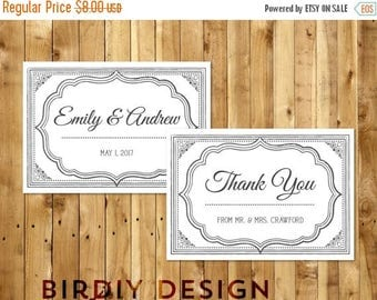 Printable Vintage Style Wedding Thank You Card Template - Dark Grey & White - Instant Download - Editable MS Word Doc - Peony Collection