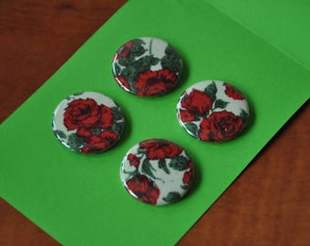 Liberty Button Magnets - Set of 4 - Liberty of London Carline fabric-covered magnets (4M6)