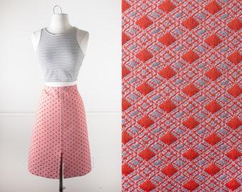 1960s Psychedelic Midi Skirt, 60s Skirt, 70s Skirt, Boho Skirt, High Waisted Skirt, Psychedelic Skirt, Pencil Skirt, Mod Skirt, Orange Skirt