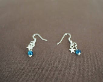 Star and blue pearl earrings