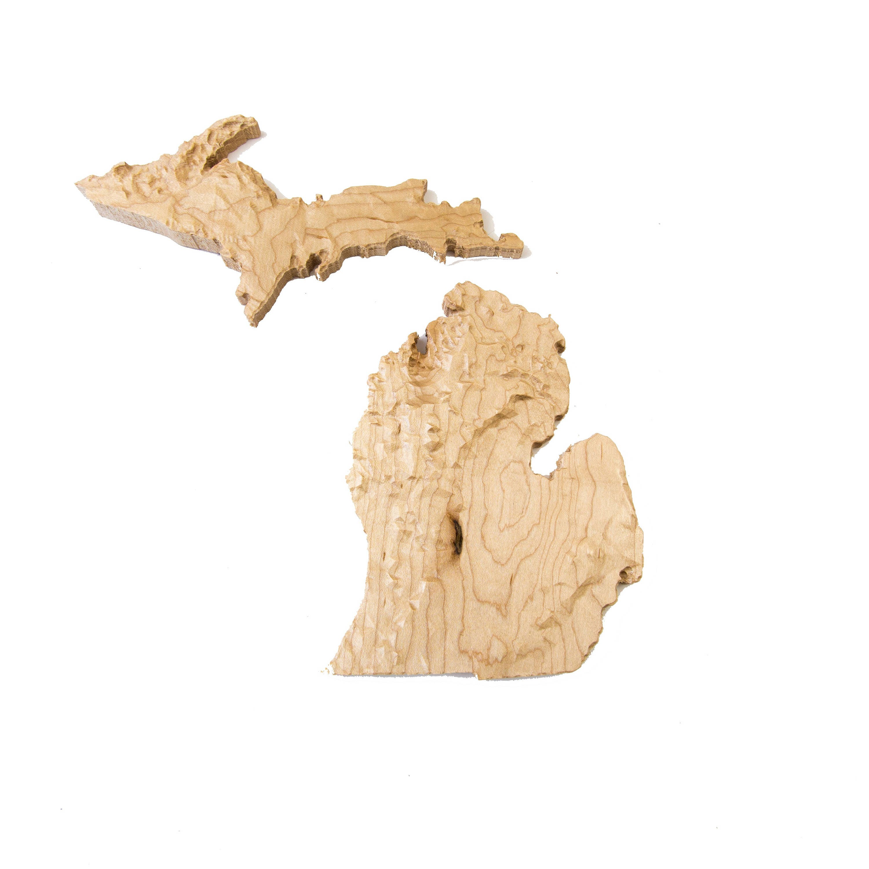 Wooden topographic map of Michigan, 3d map, wood geographic wall art ...