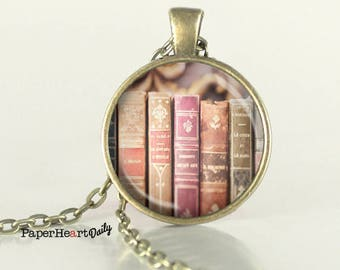 Book Necklace - Library necklace - Mini Library - Mini Book - Bookish Jewelry -  (B2281)