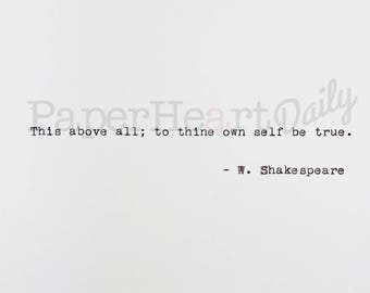 Thine Own Self - Typed Quote - Typewriter Quote - Quote on Card Stock - Shakespeare Quote - Card Stock Quote - Cardstock Quote