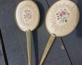 Beautiful never used vintage 70's Ivory Pearl Floral Embroidered Gold Tone Vanity Brush Mirror Set, Retro Living Kitsch, Excellent Condition