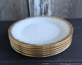 Gold swirl FIRE KING Golden Anniversary set of six swirl salad plates