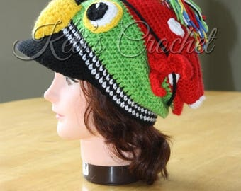 SALE Pirate Hat,Crochet Pirate Hat,Pirate Parrot,Pirate Parrot Hat,Pirate Parrot Slouchy,Pirate Parrot Brim Hat,Pirate Parrot Visor Slouchy