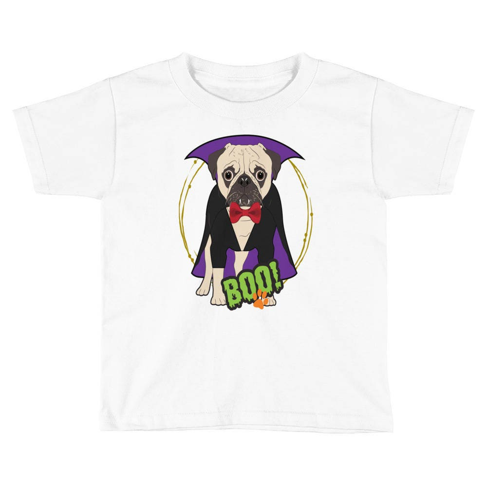pug dog halloween costume shirt vampire cute puppy pet girls boys kids short sleeve t