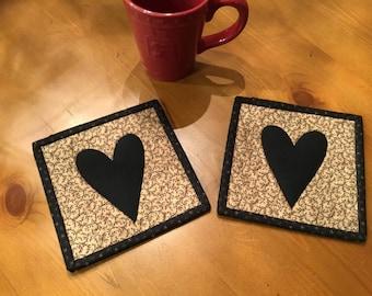 Primitive Heart Mug Rugs / Quilted Mug Rugs / Handmade /Country Decor / Item #2247