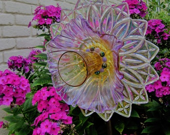 glass garden flower- glass plate flower- upcycled glass art-plate flowers-garden decoration-gardener gift- cranberry-plum-flower stake