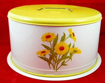 Vintage Cake Carrier, Tin Box, Glass Plate Included, Cake Dome ,  6.5 X 11, 1950 Kitchenware