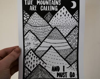 "PRE-ORDER: Original ""Mountains"" Screen Printed Art Print"