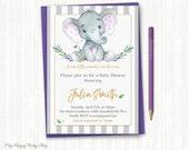 Purple Elephant Baby Shower Invitation, watercolor elephant, Purple and Grey Little Peanut, Gender Neutral , PRINTABLE, Digital - BSU046P