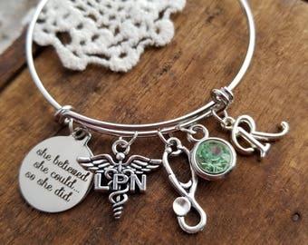graduation Gift for LPN ,  LPN charm bracelet, practical nurse jewelry, LPN jewelry, lpn bracelet, nurse charm bracelet
