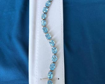 """Blue Topaz ( Oval ) and Sterling Silver Link Bracelet  -  Approx.  30cts Total Weight   8"""" Long  These are 10mm x 8mm Oval Stones"""