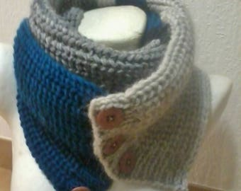 double scarf, snood, large collar button tri-couleurs