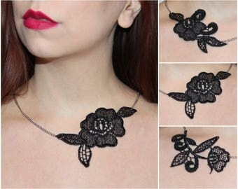 Black lace necklace. Choose your design! Christmas nacklace, lace jewelry,  necklace, asymmetric necklace.