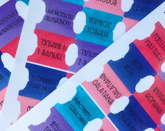 Bible Tabs - Journaling Bible Tabs - Laminated Sticker Tabs - 1. 5 inch Pinks, Purples and Teals BT20