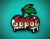"Anime Pin: ""Oppai"" Cherries Glitter Enamel Pin - Perfect for Denim Jackets and Looks Great with Anime Patches! - Cherry Lapel Pin- Oppai Pin"