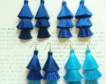Tassel Earrings Neon Silky Gift for her Christmas Gift luxury accessories Gift Red tassel earrings
