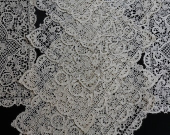 Eight Antique Lace Tablemats & Napkins, Point de Venise Lace Tablemats, Six Italian Needle Lace Napkins, Floral Motif, 1900-1909