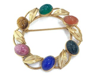 Van Dell Gold Filled Scarab Pin, Semi-Precious Gemstone Pin, Lapis Rose Quartz Carnelian, Rose Gold, 1960s, Vintage Jewelry