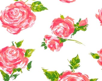 "Rose / Floral on White Tissue Paper # 327 .. 10 large sheets, 20"" x 30"" .. Flower"