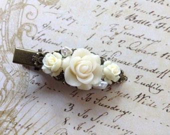 Ivory Rose Alligator Hair Clip
