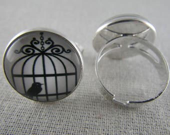 Bague061 - Ring silver, black and white bird cage