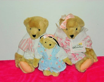 """SALE!Muffy and  Brother Fuzzy and Sister Fluffy dressed for """"HighTea""""/1991/Rare set of 3/Muffy requests the pleasure of your company at tea!"""