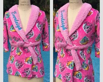 Toddler Girl My Little Pony Pinkie Pie & Rainbow Dash Fleece Robe - Personalized Monogrammed