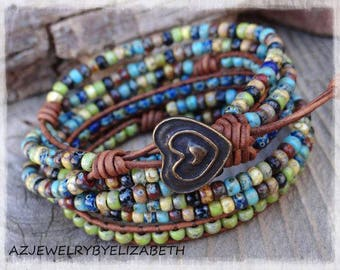 Beaded Leather Wrap Bracelet/ Seed Bead Wrap Bracelet/ Leather And Seed Bead Leather Bracelet/ Boho Wrap Bracelet/ Bohemian Bracelet**